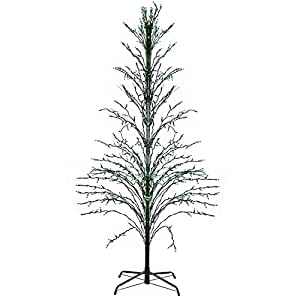 6' Green Lighted Christmas Cascade Twig Tree Outdoor Yard Art Decoration - Green Lights