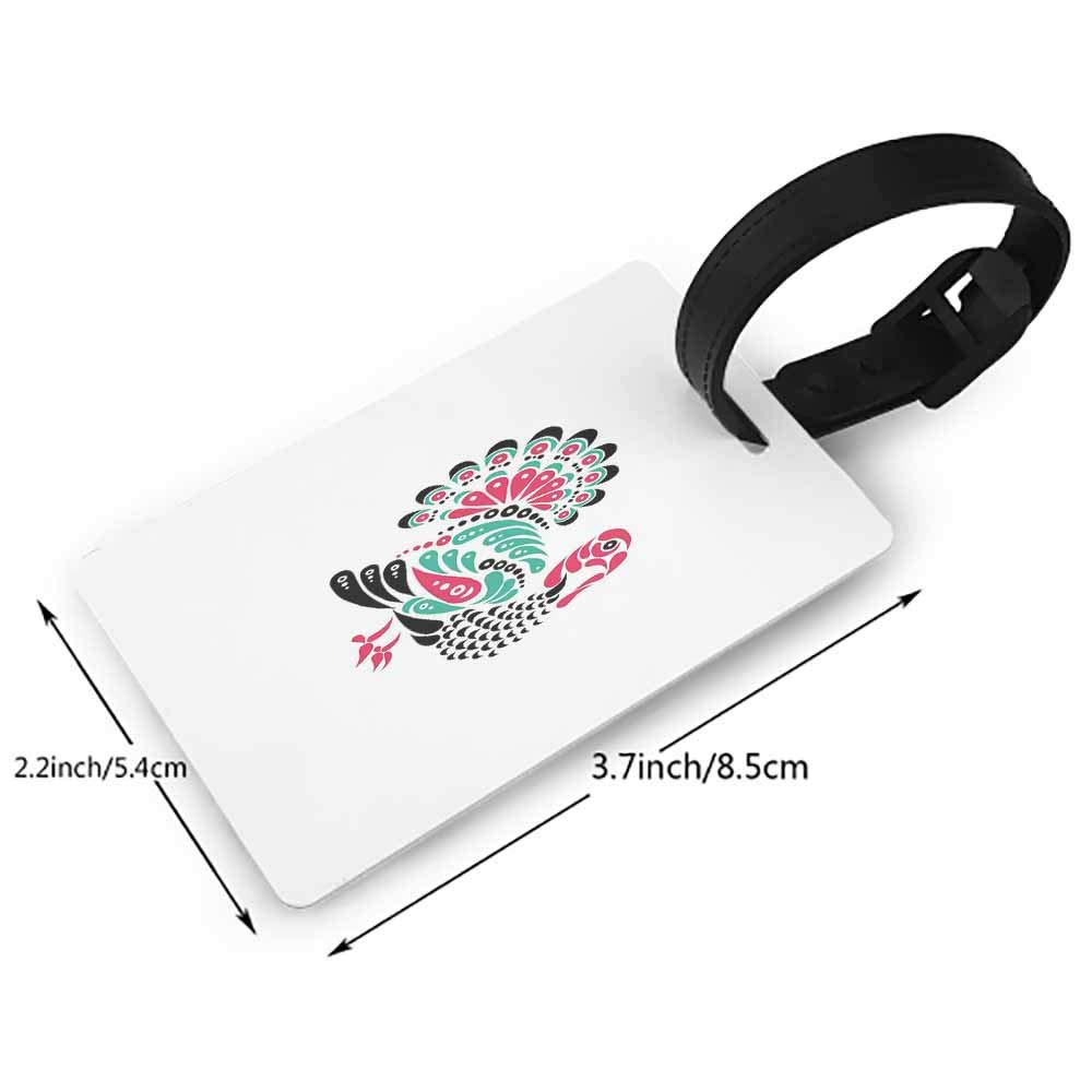 Small luggage tag,Turkey,Happy Thanksgiving with Falling Leaves and Poultry Birds Harvest Time Celebration,One Size Travel Accessories Multicolor