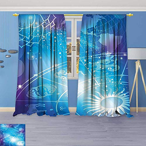 Philiphome Pattern Decor Artistic Window Curtain by, Mystical Sun Rays on Horoscope Plan with Digital Made Globe Earth Cosmos Art,Living Room Bedroom (G Plan Dining Room Furniture)