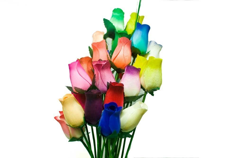 Amazon.com: Forever Roses - Small Bud Wooden Roses Bouquet - Dozen ...