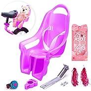 MOSHAY Universal Doll Bike Seat with Stickers DIY Decal Girls Kids Bike Accessories(Purple-1)