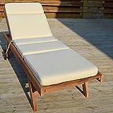 Luxury Garden Sun Lounger Cushion with Premium Filling - Oatmeal