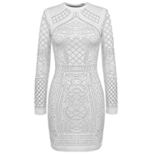 Meaneor Women's Long Sleeve Rhinestone Badycon Dress Sequin Cocktail Club Dress
