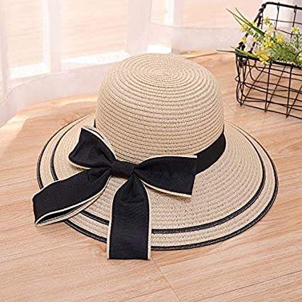 b5a59e246e2fd Image Unavailable. Image not available for. Color  Funnmart Sun Hat Big  Black Bow Summer Hats for Women Foldable Straw Beach Panama Hat Visor