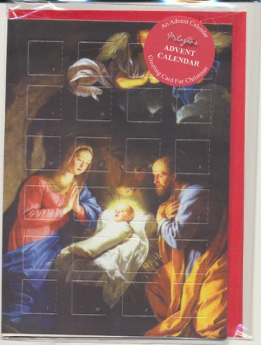 - Religious Advent Calendar Old Masters Holy Christmas Greeting Card with Envelope Nativity with Angel Plus Xmas Holy Pamphlet