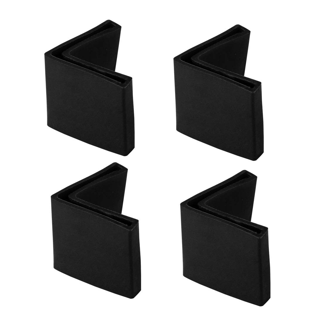 uxcell 25mm x 25mm Angle Iron Foot Pads L Shaped PVC Furniture Desk Leg Caps End Covers Floor Protector Black 4 Pcs