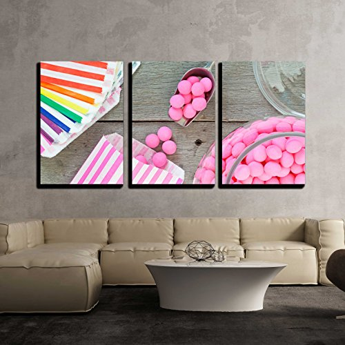 wall26 - 3 Piece Canvas Wall Art - Old Fashioned Candy Jar Full of Pink Peppermints - Modern Home Decor Stretched and Framed Ready to Hang - 16