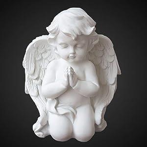 OwMell 6.3 Inch Kneeling Praying White Baby Cherubs/Angels Resin Garden Statue Figurine Indoor Outdoor Home Garden Decoration Wings Angel Statue Sculpture Memorial Statue