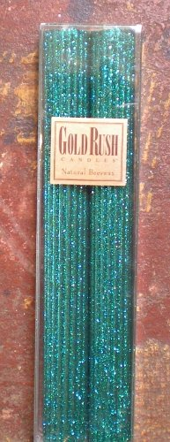 Gold Rush 12 Inch Natural Beeswax Glitter Candles, Wild Peacock Color, Boxed Set of 2 Candles -