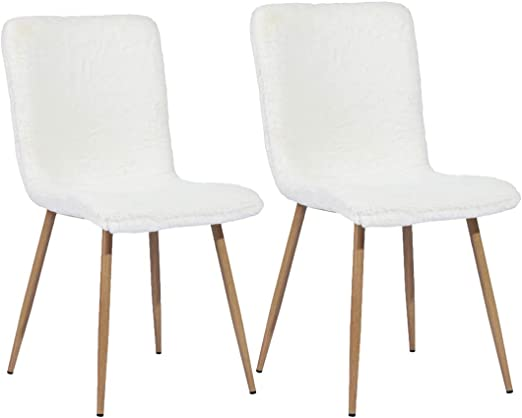 FURNISH1 Lot de 2 chaises de Salle a Manger de Style scandinave avec Un revêtement de Tissu Fourrure (Fausse) Blanche, Pied en métal Imitation Bois