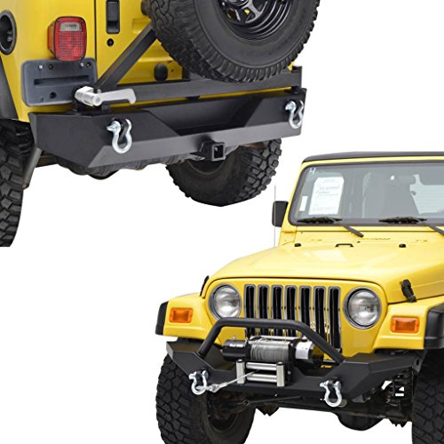 E-Autogrilles YJ TJ Jeep Wrangler Black Textured Front Bumper and Rear Bumper with Tire Carrier Combo