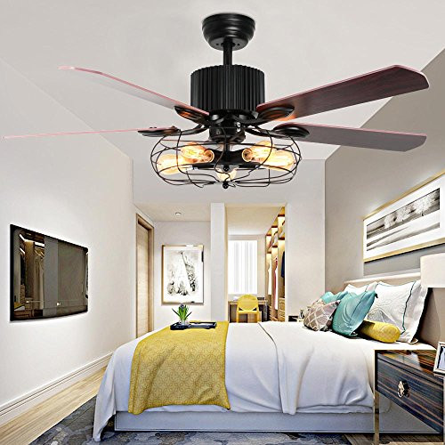 Tropicalfan Vintage Cage Ceiling Fan With Lights Remote Control Indoor Living Room Study Industrial Mute Fans Chandelier 5 Wood Composite Reversible Blades 42 inch
