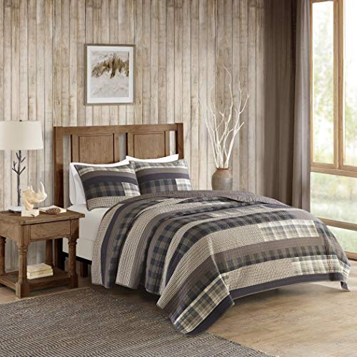 3 Piece Tan Brown Plaid Quilt Full Queen Set, Log Cabin Bedding Grey Southwest Solid Color Cottage Lodge Themed Hunting Taupe Lumberjack Pattern Tartan Patchwork Western Colors, Southwestern -
