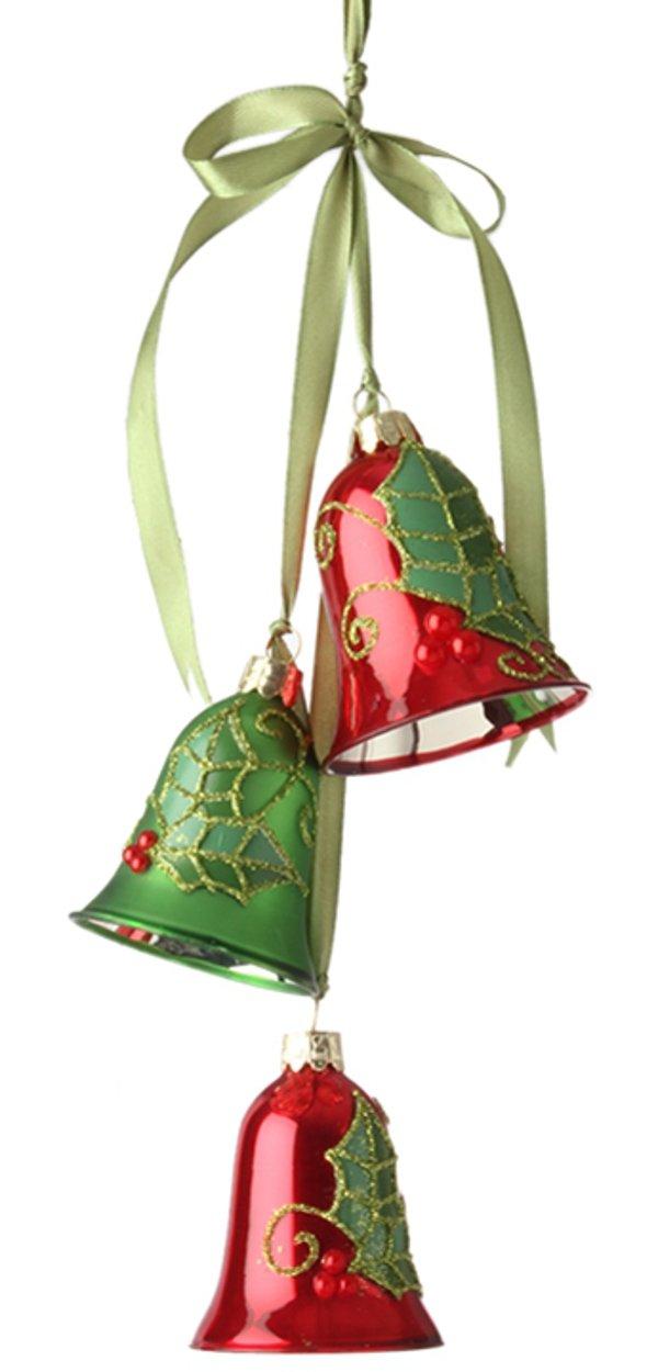 Raz 14'' Holly Bell Cluster Christmas Ornament