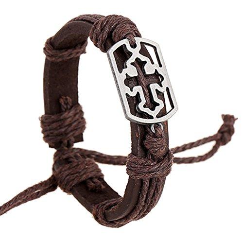 Koson-Man Boys / Girls Leather Metal Bracelet Multilayer Braided Friendship Bracelets Charm Bracelets - Engraved Yellow Brooch
