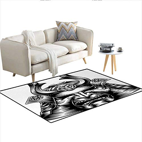 Carpet,Vintage Style Oriental Themed Demon Samurai Mask Eastern Style Martial Art Print,Customize Rug Pad,Black WhiteSize:48