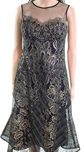 Teri Jon Womens Floral Metallic Detail Sheath Dress Gold 2