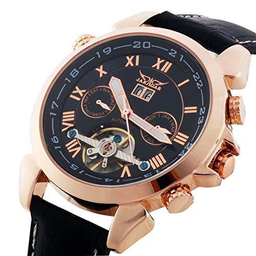 Gute Jaragar Luxury Auto Mechanical Watch 4 Hands Date Tourbillon Rose Gold Wrist Watch for ()