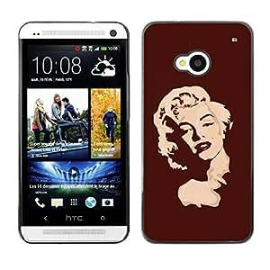 PC/Aluminum Funda Carcasa protectora para HTC One M7 Marilyn Portrait Blonde Red Lips Art Portrait / JUSTGO PHONE PROTECTOR