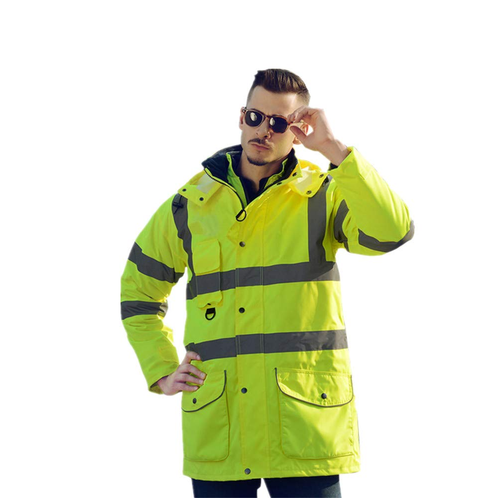 GSHWJS- trash can Reflective Cotton Coat High Speed Traffic Warning Duty Safety Jacket, Green Reflective Vests (Size : S) by GSHWJS- trash can (Image #9)
