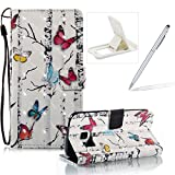Strap Leather Case for Samsung Galaxy S7,Wallet Stand Flip Case for Samsung Galaxy S7,Herzzer Bookstyle Stylish Pretty 3D Colorful Butterfly Pattern Magnetic PU Leather with Soft Silicone Inner Back Case for Samsung Galaxy S7