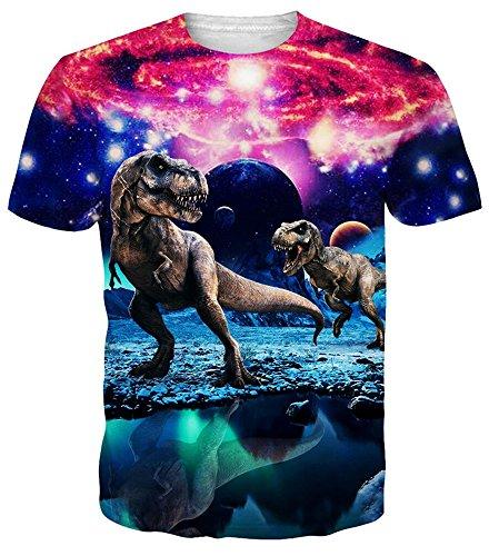 - Idgreatim Juniors Casual 3D Printed Dinosaur Short Sleeve T-Shirt Graphic Tees