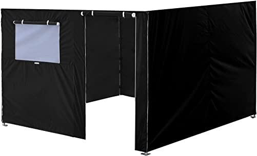 Eurmax Full Zippered Walls for 10 x 10 Easy Pop Up Canopy Tent,Enclosure Sidewall Kit with Roller Up Mesh Window and Door,4 Walls ONLY,Black