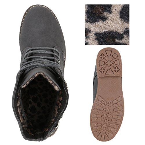 Stiefelparadies Damen Stiefeletten Worker Boots mit Blockabsatz Nieten Zipper Flandell Grau