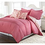 5 Piece Full Queen Coral Pink Ruched Comforter Set, Reversible Bedding, Fancy Luxury Bedding, French Country Style, Modern Pattern for Master Bedrooms, Flower Embroidery, Light Pink, Red and white