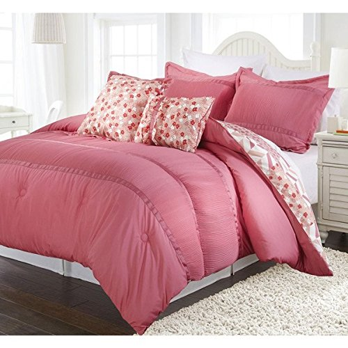 5 Piece Full Queen Coral Pink Ruched Comforter Set, Reversible Bedding, Fancy Luxury Bedding, French Country Style, Modern Pattern for Master Bedrooms, Flower Embroidery, Light Pink, Red and white by OS
