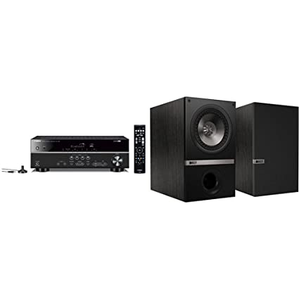 Yamaha RX V383BL Receiver With KEF Q100 Bookshelf Loudspeakers