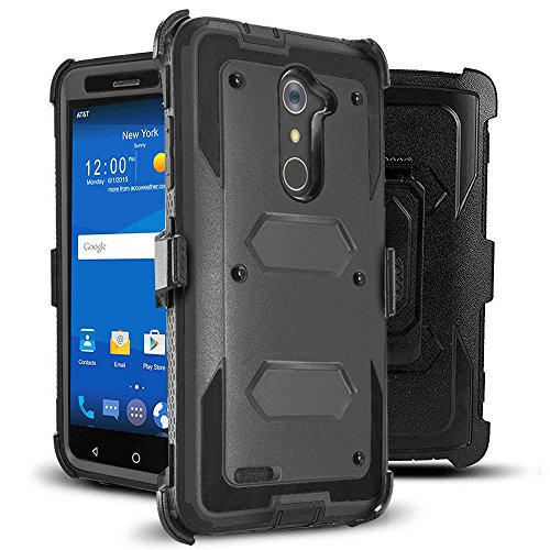 J.west Compatible with ZTE ZMax Pro Case, Belt Clip Kickstand Heavy Duty Full-Body Rugged Protection Impact Armor TPU Hard Case Cover Without Screen Protector for ZTE Zmax Pro Z981/Grand X Max 2 Black (Best Zmax Pro Case)