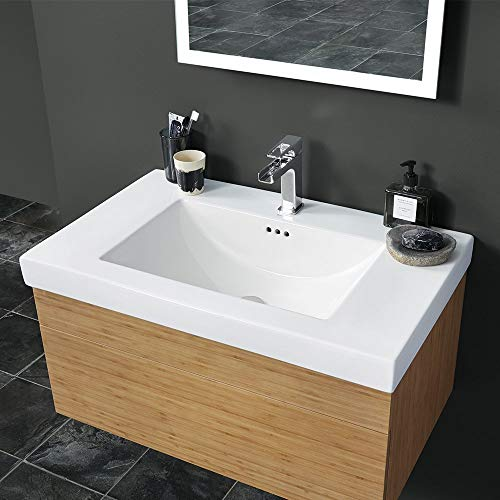 """Ronbow 32"""" Evin Ceramic Bathroom Vanity Sinktop with Single Faucet Hole in White 216632-1-WH"""