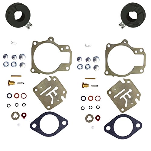 (2 (Twin) Pack Deluxe Venom Brand Carburetor Carb Rebuild Repair Kit FLOAT Compatible With Johnson Evinrude MANY 18 20 25 28 30 35 40 45 48 50 55 60 65 70 75 HP Outboard Motors (SEE CHART For Fitment))