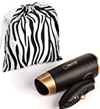 zebra print hair brush - Travel Hair Dryer Dual Voltage Compact Folding Handle 1200 Watts Lightweight for Worldwide Use Gym or Home 2 Speed/Heat Settings and Carry Bag. Meets UL 859 Standards