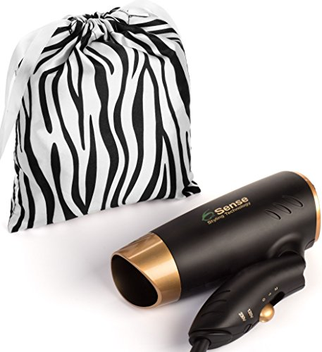 Travel Hair Dryer Dual Voltage Meets UL 859 Standards Compact Folding Handle 1200 Watts Lightweight for Worldwide Use Gym or Home 2 Speed/Heat Settings and Carry Bag.