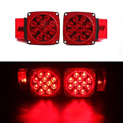 CZC AUTO 12V LED Submersible Trailer Tail Light Kit Stop Tail Turn Signal Lights for Over 80 Inch Boat Trailer Truck RV Snowmobile with Aluminum Trailer License Plate Bracket: Automotive