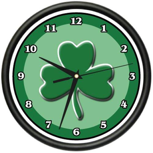 IRISH Wall Clock shamrock pub clover ireland art gift