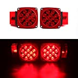 CZC AUTO 12V LED Submersible Trailer Tail Light Kit Stop Tail Turn Signal Lights for Over 80 Inch Boat Trailer Truck RV Snowmobile with Aluminum Trailer License Plate Bracket