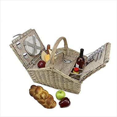 4-Person Hand Woven Warm Gray Willow Insulated Picnic Basket Set with Accessories