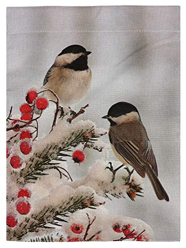 "pingpi Double Sided White Black Tow Cute Chickadees in Winter Snow Burlap Garden Flag Banner 12.5""x18"" for Outdoor Home Garden Flower Pot Decor"