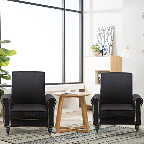 Haobo Club Chairs with nail for Living Room or Reception Room (Set of 2) Accent Chair, Black