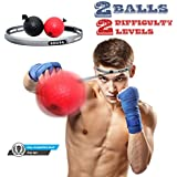 Boxing Reflex Ball On String, 2 Difficulty Level With Head-Band, Softer Than Tennis Ball, Perfect For Punching Focus Exercise To Improve Reactions Speed, Hand Eye Coordination Training