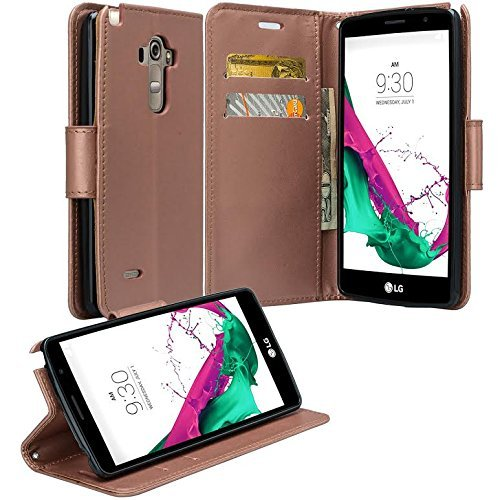 Microseven  Lg G Stylo Case  Ls770 Lg G Vista 2 Case Magnetic Leather Folio Flip Book Wallet Pouch Case Cover With Fold Up Kickstand   Detachable Wrist Strap For Lg G Stylo   Lg G Vista 2  Rose Gold