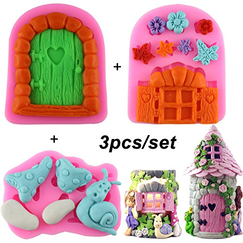 Mujiang Enchanted Vintage Fairy Garden Fairy Gnome Home Door Snail Silicone Chocolate Fondant Molds for Crafting Polymer Clay Cake Decorating, Set Of 3