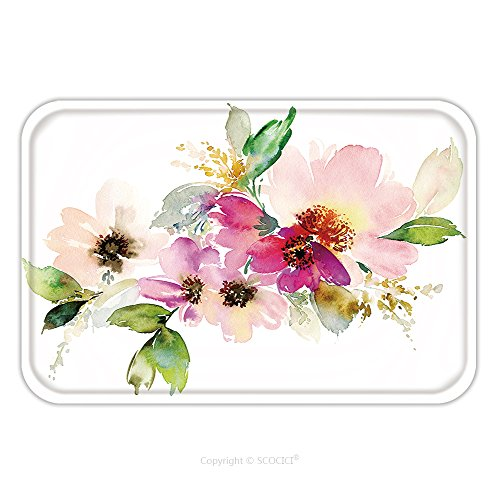 Flannel Microfiber Non-slip Rubber Backing Soft Absorbent Doormat Mat Rug Carpet Flowers Watercolor Illustration Manual Composition Mother S Day Wedding Birthday Easter 381177877 for Indoor/Outdoor/Ba