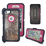 iPhone 8 Plus Camo Case, Harsel Heavy Duty Camouflage High Impact Rugged Hybrid Armor Military Case with Swivel Belt Clip Built-in Screen Protector for iPhone 7 / 8 Plus - Xtra Rose