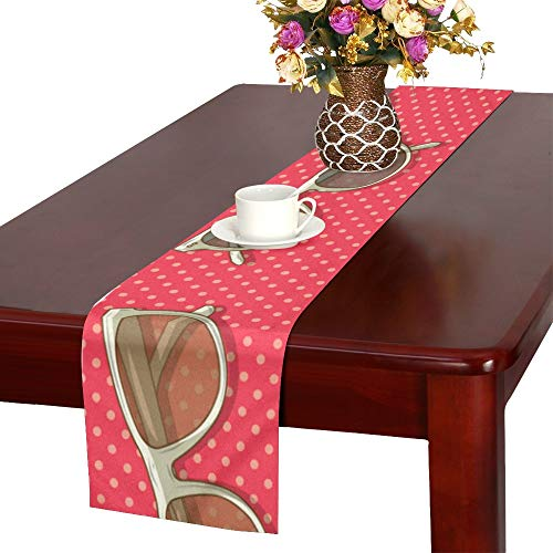 (WUwuWU Square Sunglasses Vintage Color Table Runner, Kitchen Dining Table Runner 16 X 72 Inch for Dinner Parties, Events, Decor)