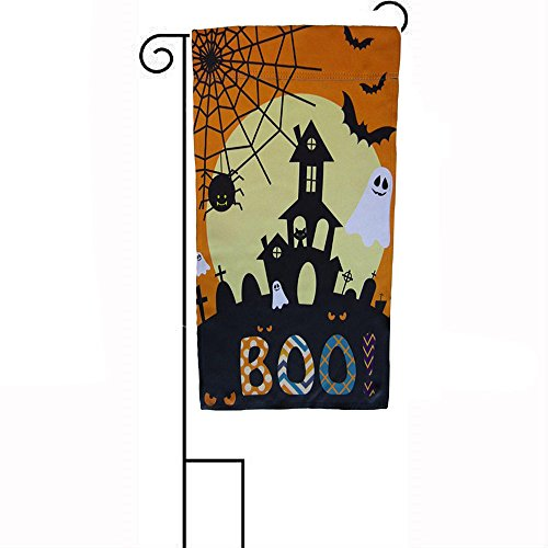 ALBATROS 12 inch x 18 inch Happy Halloween Boo! Haunted House Sleeved with Garden Stand Flag for Home and Parades, Official Party, All Weather Indoors Outdoors]()