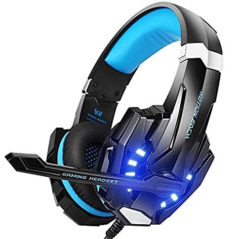 - 51b40 n8tbL - BENGOO G9000 Stereo Gaming Headset for PS4, PC, Xbox One Controller, Noise Cancelling Over Ear Headphones with Mic, LED Light, Bass Surround, Soft Memory Earmuffs for Laptop Mac Nintendo Switch Games